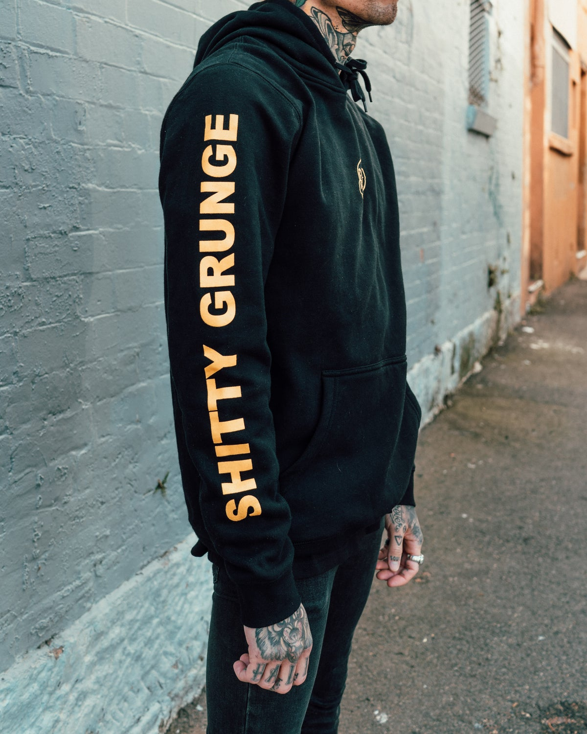 Image of SHITTY GRUNGE HOOD BLK