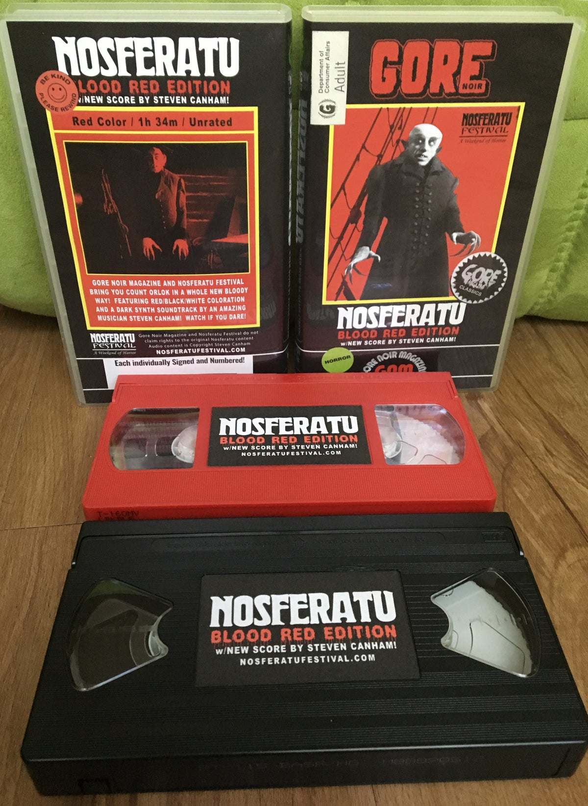 Image of Nosferatu Blood Red Edition VHS Movie W/New Soundtrack By Steven Canham LIMITED EDITION
