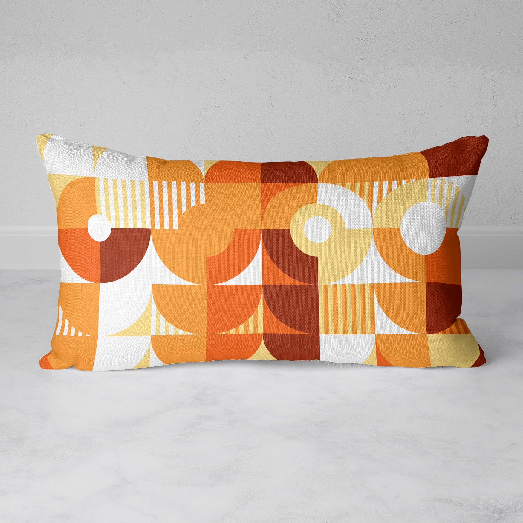 Image of Monochromatic Machine in Orange Rectangular Throw Pillow