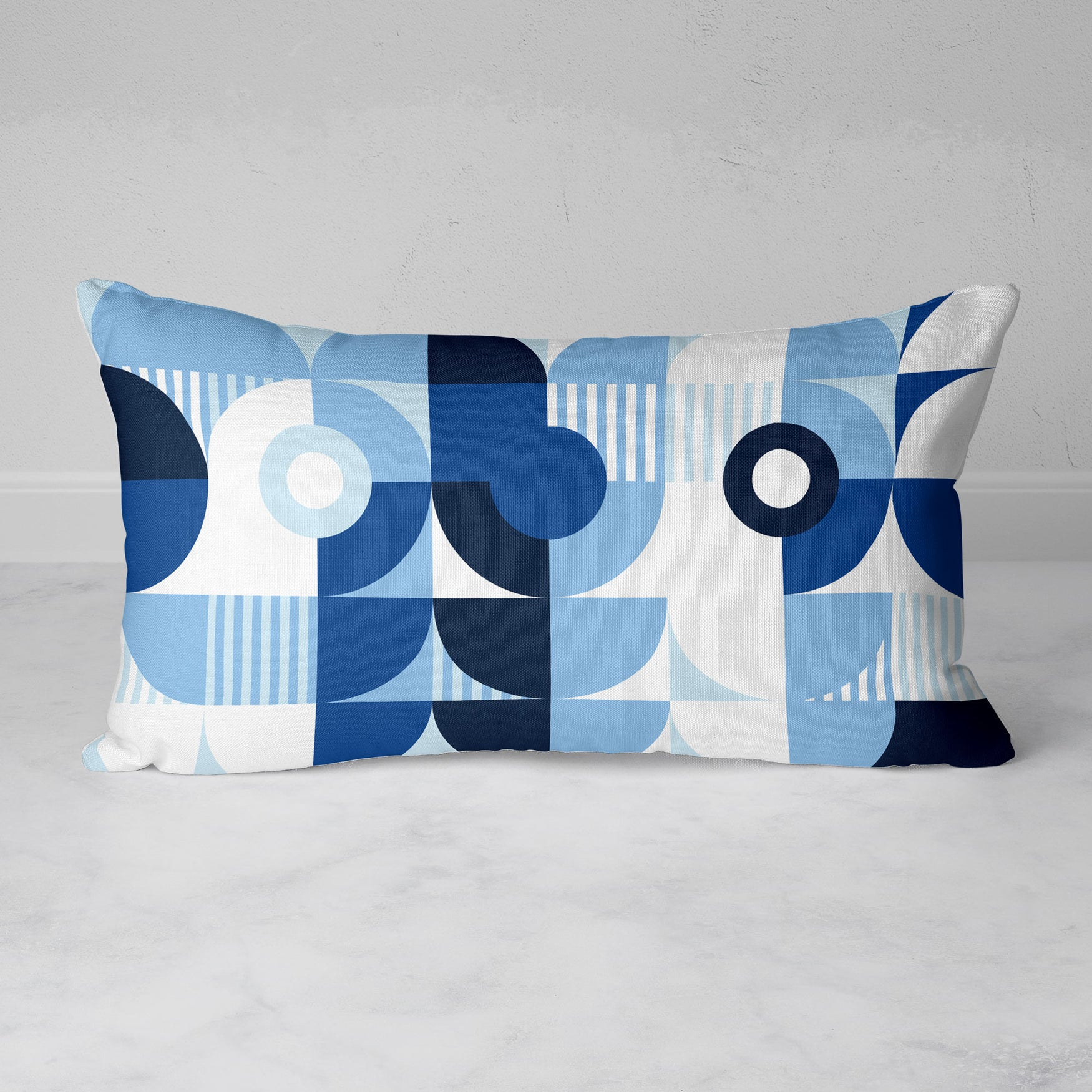 Image of Monochromatic Machine in Blue Rectangular Throw Pillow