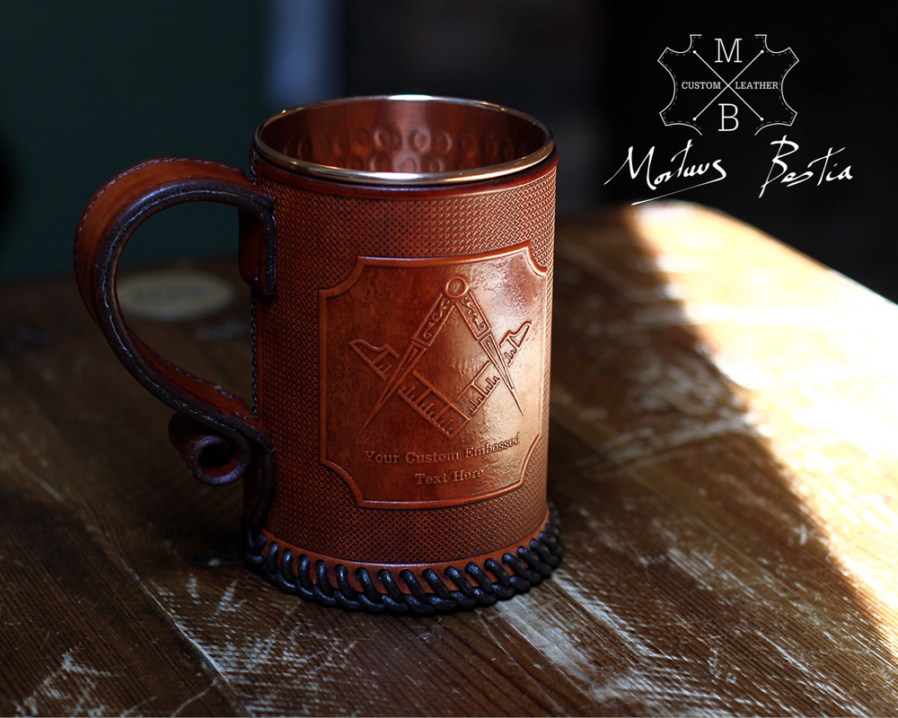 Image of Freemason Masonic Emblem Leather Tankard