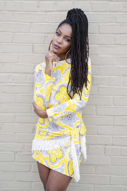 Image of Vintage Yellow Mod Mini Dress W/ Matching Fringe Scarf