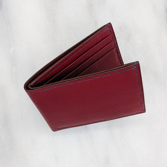 Image of BIFOLD Wallet - Burgundy & Blue