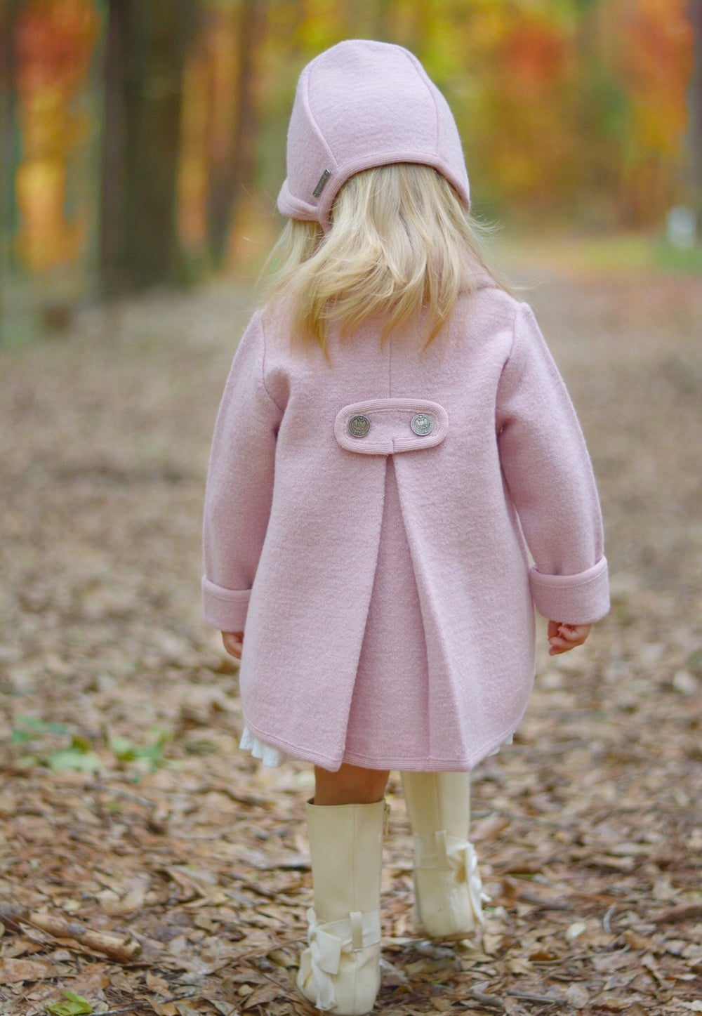 Image of Single-Breasted Girl's Wool Coat & Bonnet