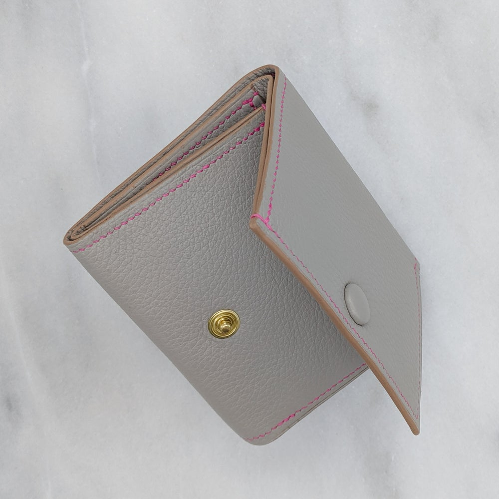 Image of TRIFOLD Wallet with Snap – Light Grey & Pink