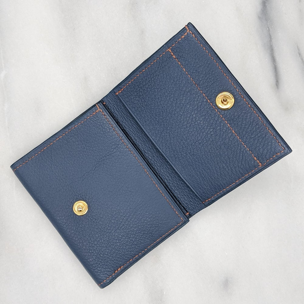 Image of TRIFOLD Wallet with Snap – BLUE & BRONZE