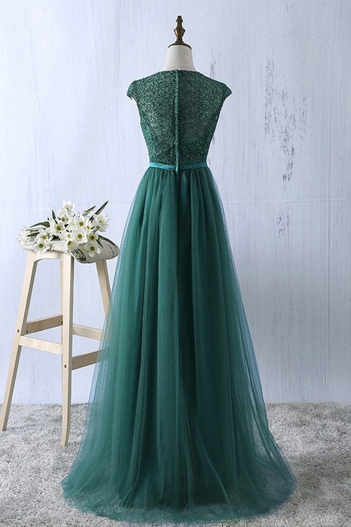 Pretty Green Lace Long Bridesmaid Dress, Tulle Junior Prom Dress