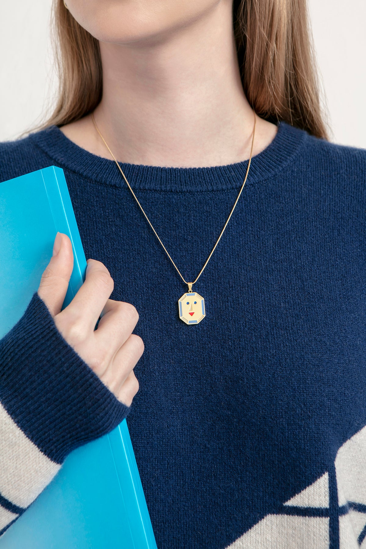 Image of JOY + PEACE - reversible necklace- Blue/Light Blue• Stainless steel