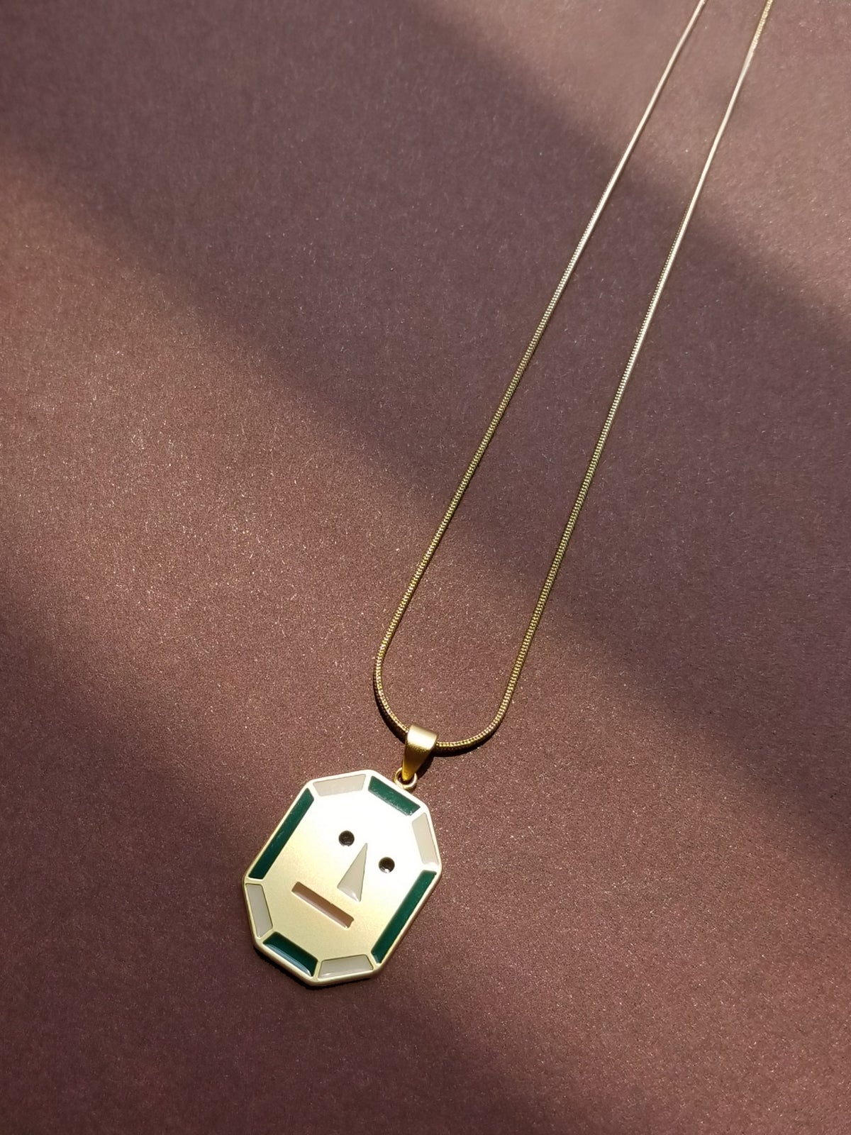 Image of JOY + PEACE - reversible necklace- Green + Pink • Stainless steel
