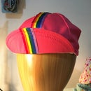 Image of Poly cotton twill cycling cap - pink and rainbows