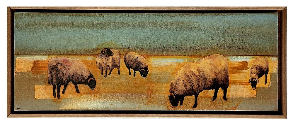 Image of Original Canvas - Swaledales on Blue-Grey/Ochre/White - 30cm x 80cm