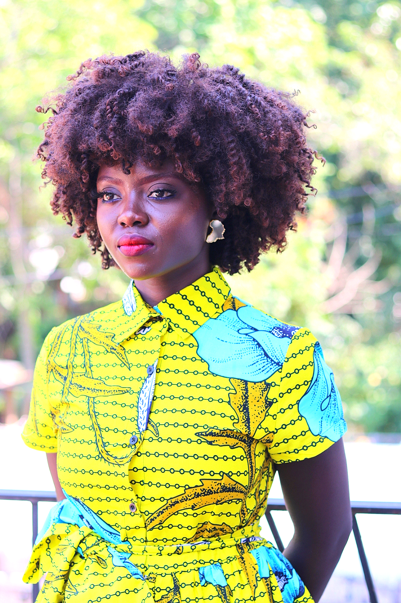 Image of AYA - Yellow Floral African Print Shirt Dress