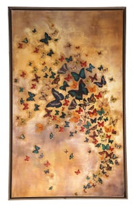 "Image of Original Canvas - Butterflies on Warm Ochre - 36"" x 60"""