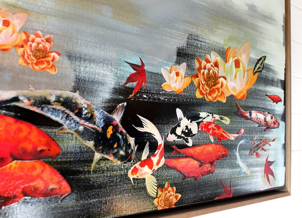 "Image of Original Canvas - Koi and Lilies on Grey/Black - 24"" x 48"""
