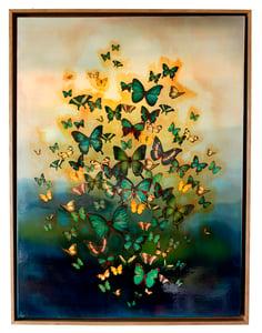 "Image of Original Canvas - Butterflies on Prussian Blue Tones - 30"" x 40"""