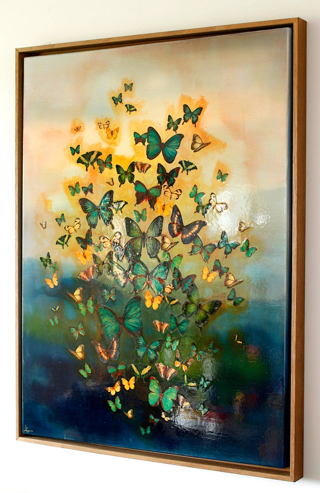 "Image of Original Canvas - Butterflies on Prussian Blue Tones - 30"" x 40"""