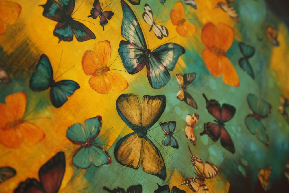 Image of Original Canvas - Butterflies on Burnt Sienna/Turquoise/Yellow Ochre