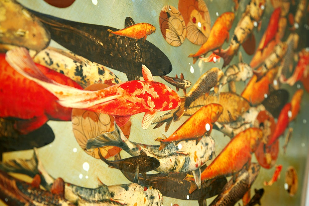 "Image of Original Canvas - Koi on Ochre/Blue-Grey/Burnt Sienna - 36"" x 60"""