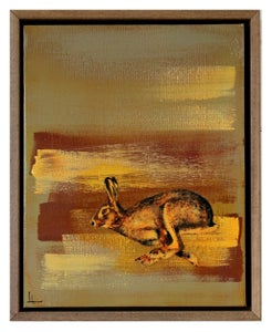 "Image of Original Canvas - Running Hare on Grey/Burnt Sienna/White - 11"" x 14"""