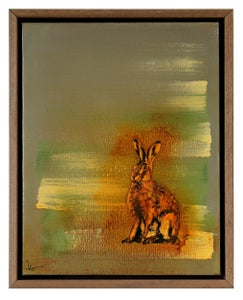 "Image of Original Canvas - Sitting Hare on Grey/White/Sap Green - 11"" x 14"""