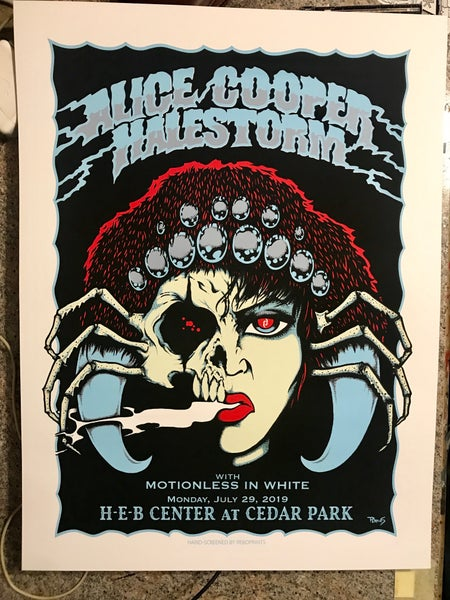 Image of Alice Cooper and Halestorm official gig poster, Austin 2019