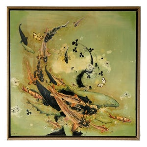 Image of Original Canvas - Koi and Blossoms on Eau de Nil - 60cm x 60cm