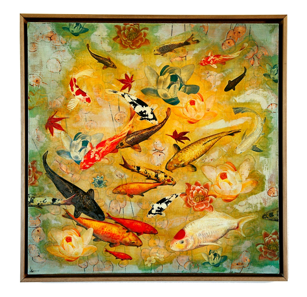"Image of Original Canvas - Koi and Lilies with Reflections of Honesty - 30"" x 30"""