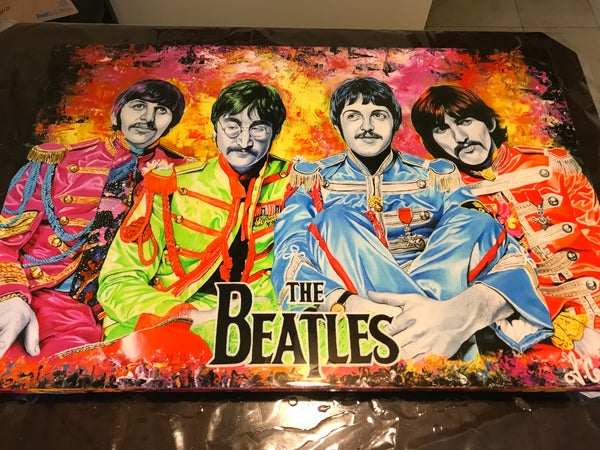 Image of The Beatles resined prints on canvas