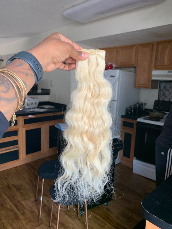 Image of Platinum blonde Indian Straight, Wavy, Curly 3 bundle deal