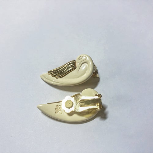 Image of vintage swan clip earrings