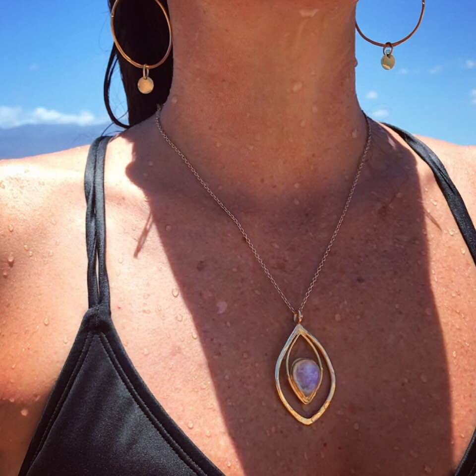 Image of Gold Moonstone talisman necklace