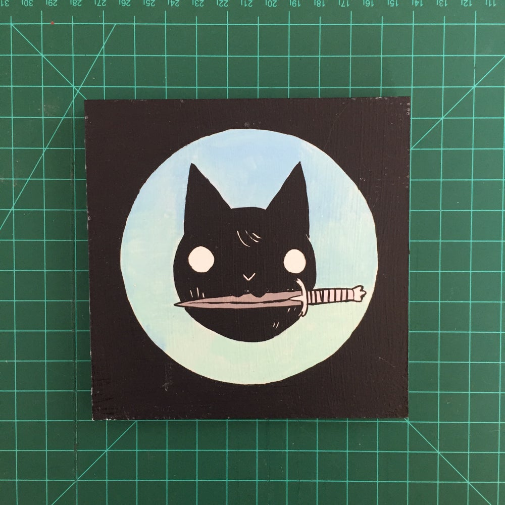 Image of Cat with Dagger in Mouth Painting