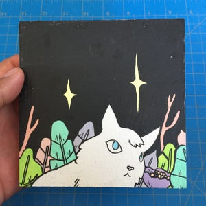 Image of White Fox in Jungle Painting