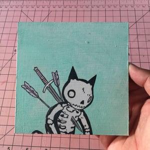 Image of Sad Skeleton Cat Painting