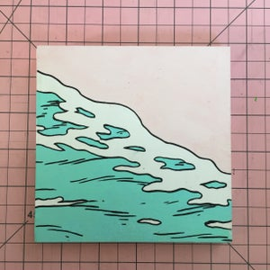 Image of Blue Water on Pink Beach Painting
