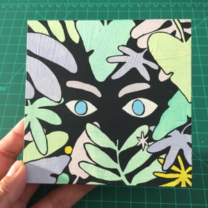 Image of Eyes in Leaves Painting