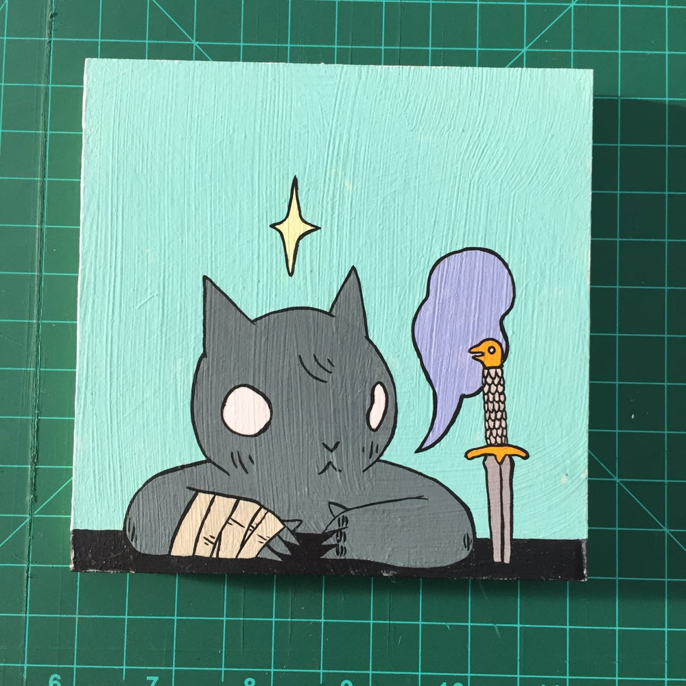 Image of Cat with Knife in Table Painting