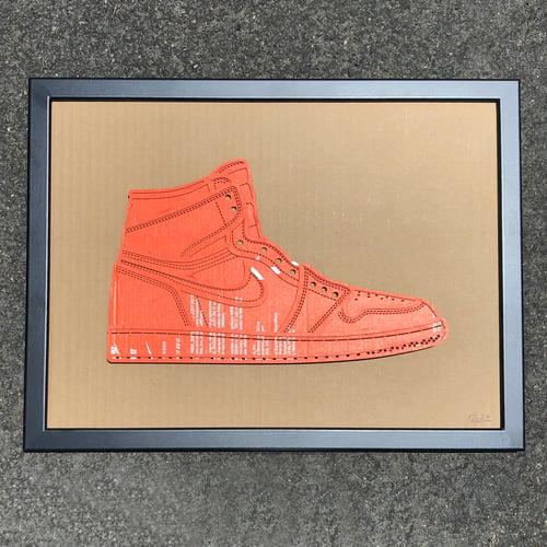 Image of Jordan 1 Laser Engraved on old Orange Nike Box