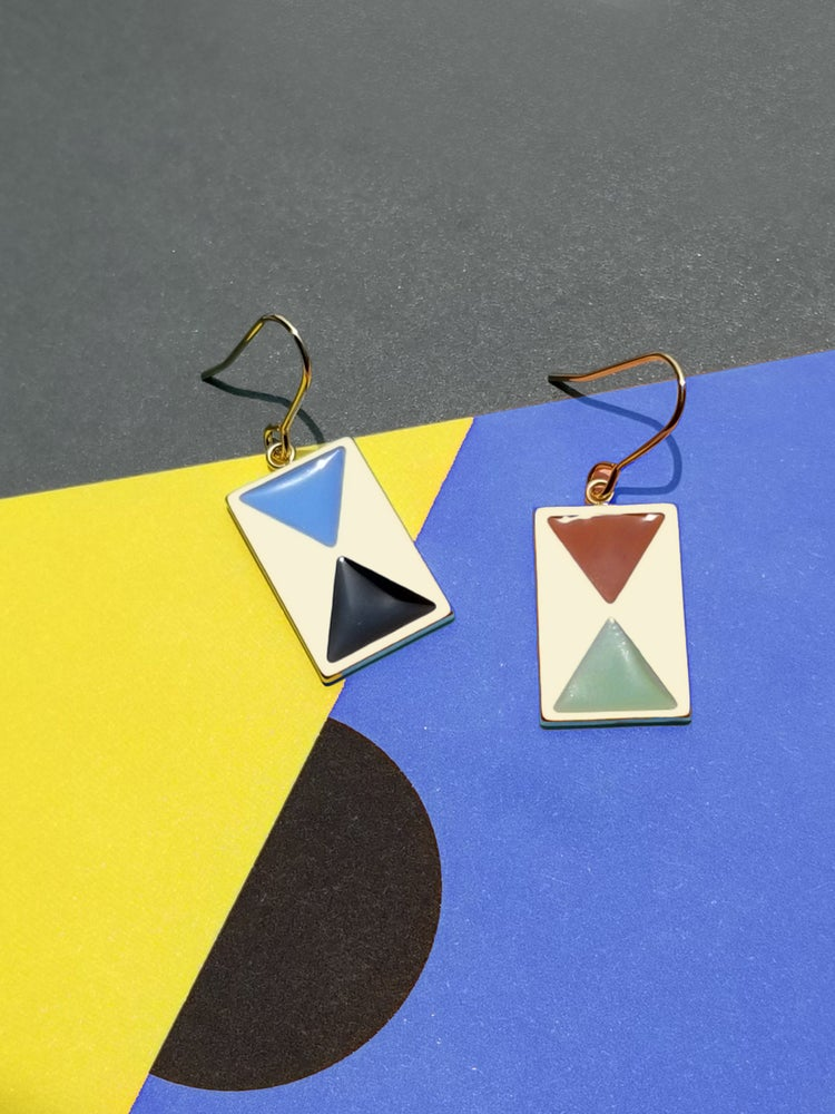 Image of Color Block Earrings with french hook • Stainless steel • Silver