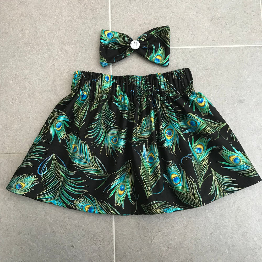 Image of Peacock Metallic Skirt & Bow