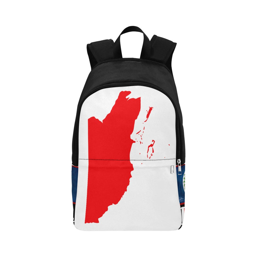 Image of BELIZE - Front White/Red Top/Black Map Fabric Backpack for Adult