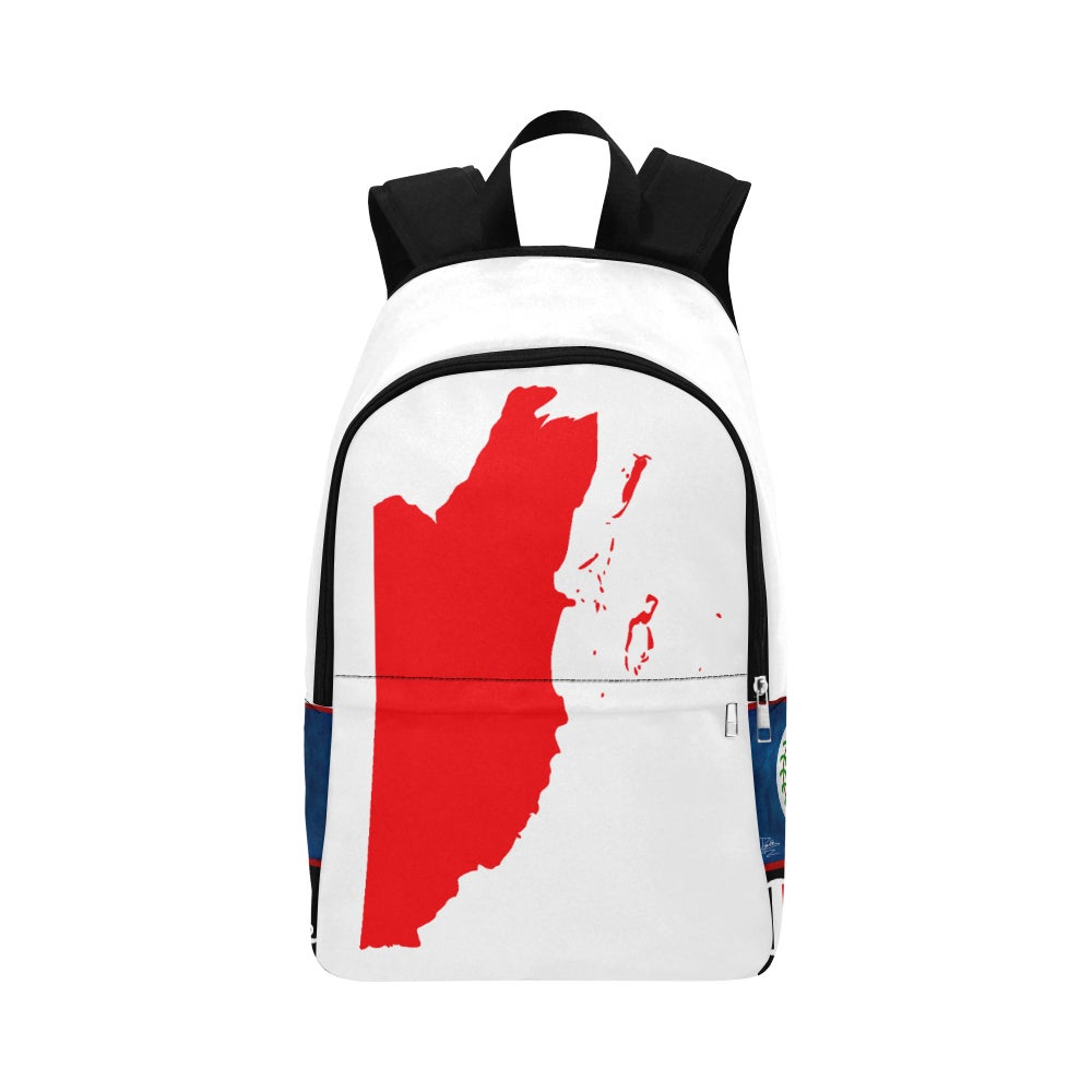 Image of BELIZE - White/Red Map Top/White Fabric Backpack for Adult