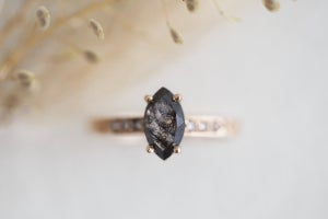 Image of 18ct rose gold marquise rose cut diamond ring (IOW117)
