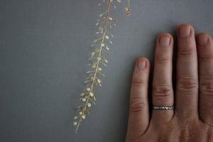 Image of platinum 2mm floral carved