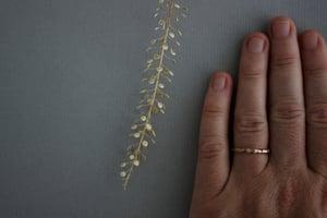 Image of 18ct rose gold 2mm floral carved ring