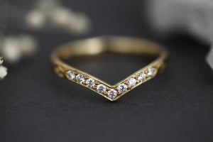Image of 18ct gold, white diamond set wishbone (chevron) ring