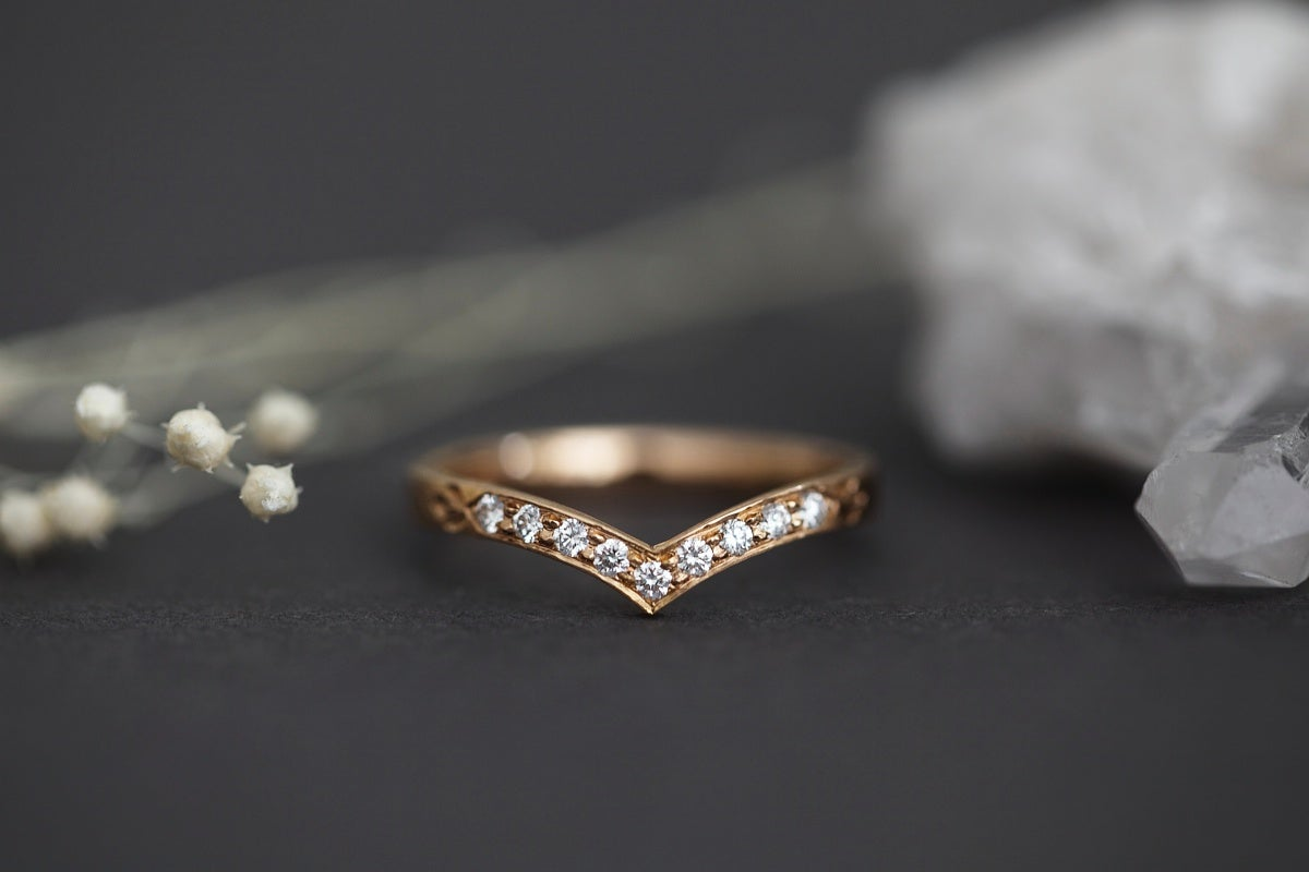 Image of 18ct rose gold, white diamond set wishbone (chevron) ring