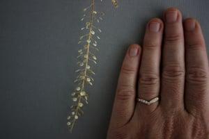 Image of 18ct rose gold, white diamond set wishbone (chevron) ring