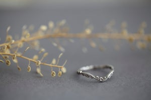 Image of Platinum 2mm floral carved wishbone ring
