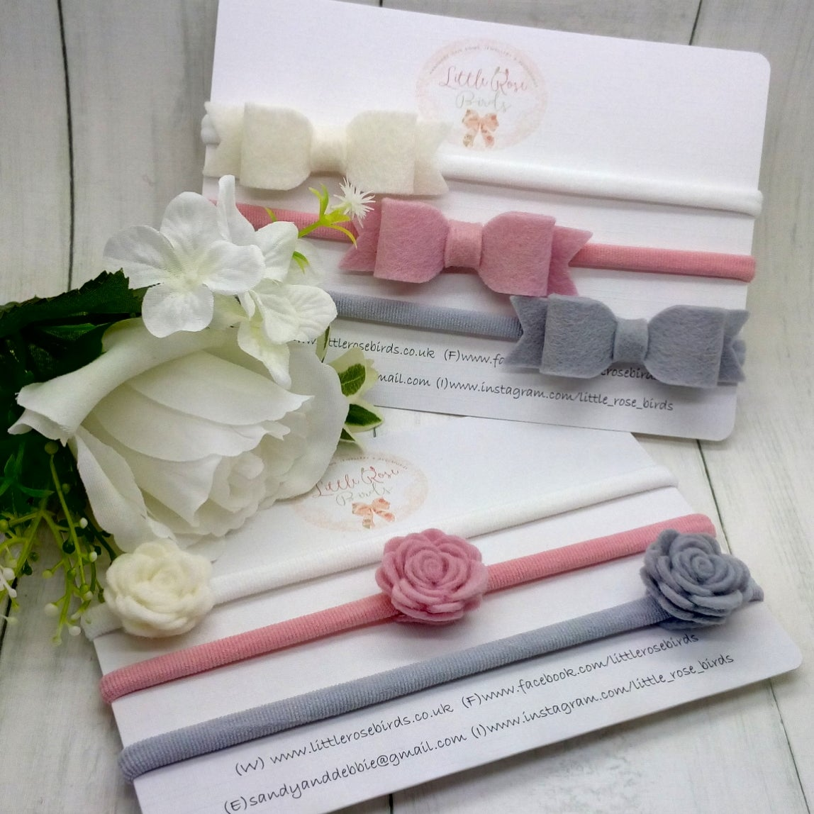 Image of Bow and Mini Rose Headband or Clip Set - White / Ascot / Turtle Dove